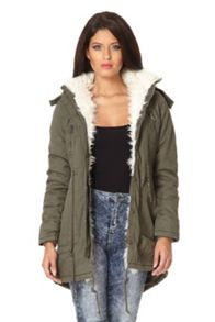 Faux Fur Trim Hooded Parka Jacket