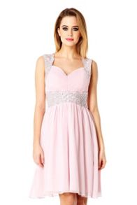 Pink Chiffon Embellished Dress