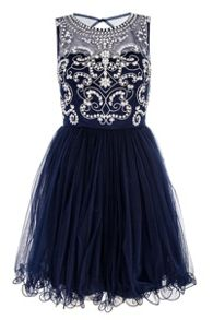 Navy Mesh Diamante Prom Dress
