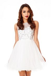 Mesh Diamante Embellished Prom Dress