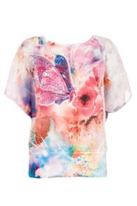 Pink Butterfly Print Lace Back Top