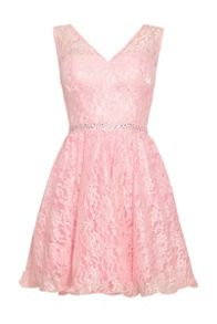 Pink lace v-neck prom dress