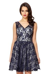 Navy Lace V-Neck Prom Dress
