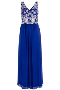 Royal Blue V Neck Embellished Maxi Dress