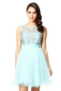 Aqua Mesh Sequin Embellished Prom Dress
