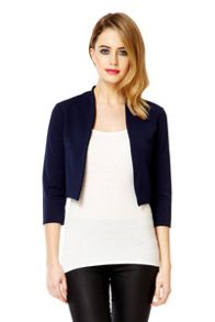 Navy 3/4 Sleeve Crop Jacket