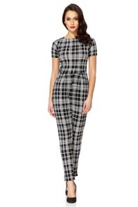 Black crepe check jumpsuit