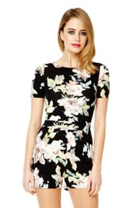 Black Floral Crepe Zip Back Playsuit