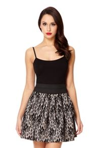 Black And Stone Lace Skater Skirt