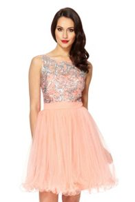 Coral Mesh Sequin Embellished Prom Dress