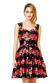 Black Satin Rose Print Prom Dress