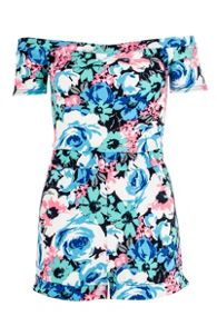 Blue Floral Print Textured Bardot Playsuit