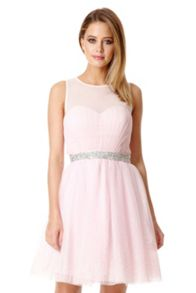 Pink Chiffon Crystal Prom Dress