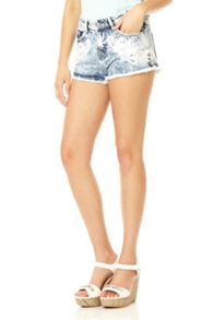 Light Blue Embroidered Hot Pants
