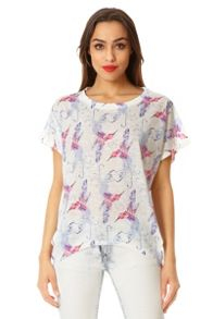 QUIZ White Bird Print Batwing Top