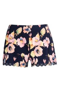 Navy Flower Laser Cut Shorts