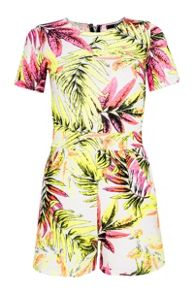 Cream Tropical Print Crepe Playsuit