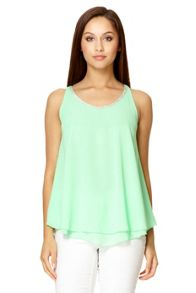 Green Double Layer Embellished Top