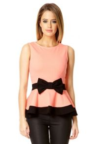 Coral Bow Front Peplum Top