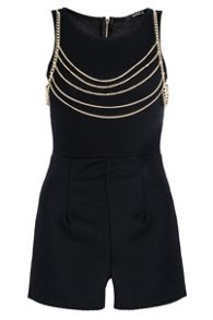 Black Textured Gold Chain Playsuit