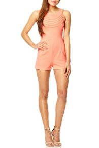 Coral Textured Gold Chain Playsuit
