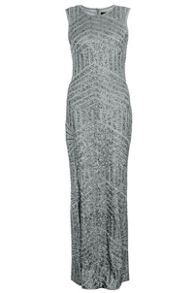 Grey Sequin Zig Zag Maxi Dress