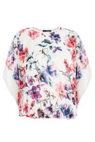 White Floral Print Batwing Top