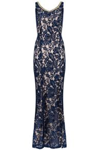 QUIZ Navy Satin Lace Split Maxi Dress