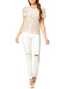 Nude Sequin Box Top