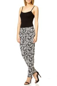Black Cotton Print Trouser
