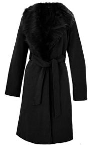Black Fur Collar Tie Belt Coat