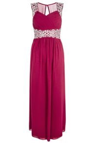 Berry Embroidered Maxi Dress