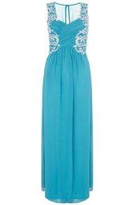 Teal Embroidered  Maxi Dress