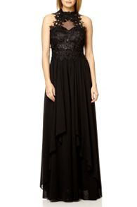 QUIZ Black Lace Waterfall Maxi Dress
