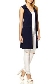 QUIZ Navy Crepe Long Sleeveless Blazer