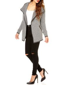 QUIZ Grey Knit Stripe Waterfall Jacket