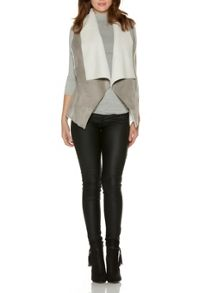 Grey And Cream Faux Suede Gilet