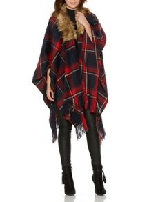 Red And Navy Check Fur Collar Cape