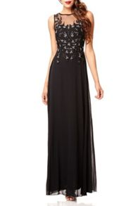 QUIZ Black Lace Sequin Maxi Dress