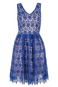 Quiz Royal Blue Crochet V Neck Dress