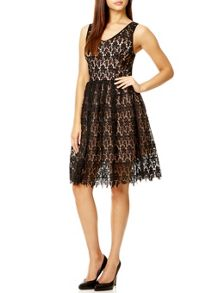 Black Crochet V Neck Dress