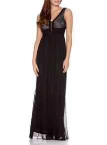 Quiz Black And Stone Lace  Maxi Dress