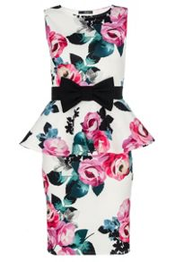 White Floral Bow Peplum Dress