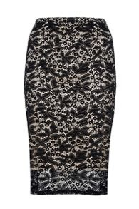 Black Satin Lace Midi Skirt