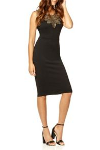 QUIZ Black Lace Neck Bodycon Dress