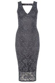 QUIZ - Grey Lace Glitter Bodycon Dress