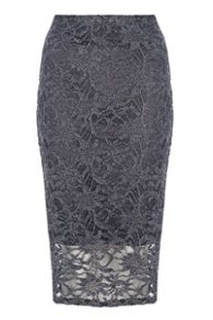 QUIZ - Grey Lace Glitter Midi Skirt
