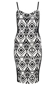 QUIZ White and Black Print Bodycon Dress