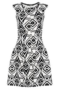 QUIZ White Flock Print Flippy Dress