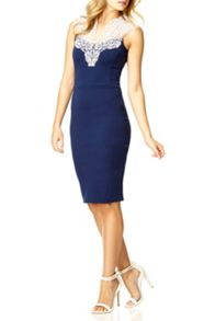 QUIZ Navy Lace Neck Bodycon Dress